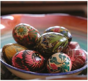 The high commissioner, a self-confessed collector, has picked up these decorative eggs on her travels and during postings, including one in Ukraine and another in Nepal. (Photo: Dyanne Wilson)