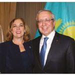 Kazakh Ambassador Konstantin Zhigalov and his wife, Indira Zhigalova, hosted a reception at the Fairmont Château Laurier to mark their country's independence. The ambassador is shown here with MP Kim Rudd, assistant parliamentary secretary to the minister of natural resources and Zhigalov. (Photo: Ülle Baum)