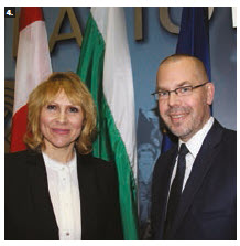 To mark the Bulgarian presidency of the Council of the European Union, Svetlana Stoycheva- Etropolski, chargé d'affaires of Bulgaria, hosted a reception and exhibit at Ottawa City Hall. She's shown with EU Ambassador Peteris Ustubs. (Photo: Ülle Baum)