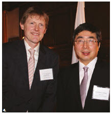 Japanese Ambassador Kimihiro Ishikane hosted a reception at his residence on the occasion of the conference of heads of Japanese missions in Canada and in support of Japanese business representatives from across Canada. From left: Timothy Sargent, deputy minister for international trade at Global Affairs Canada, and Ishikane. (Photo: Ülle Baum)