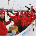 "The Chinese Embassy and Global Affairs Canada entered their ""Polar panda"" team in Winterlude's second annual Ice Dragon Boat race. Chinese Ambassador Shaye Lu (centre right) took part in the competition. (Photo: Ülle Baum)"