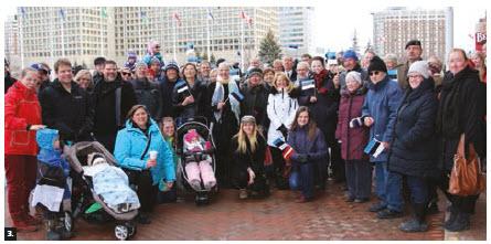 To mark the 100th anniversary of Estonia, a flag-raising ceremony took place at Ottawa City Hall. (Photo: Bernie Franzgrote)