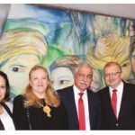 To mark the national day of Cuba and to bid farewell, Ambassador Julio Garmendia and his wife, Miraly González, hosted a reception at the embassy. From left: González, Tamilya Akhmetzhanova, Garmendia and Russian Ambassador Alexander Darchiev. (Photo: Ülle Baum)