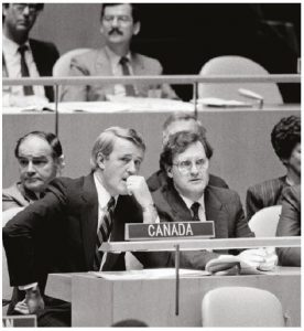 When Brian Mulroney, shown at the United Nations with then-ambassador Stephen Lewis, was prime minister of Canada, he convinced the Commonwealth to impose sanctions against apartheid and securing future South African president Nelson Mandela's release from prison. (Photo: UN)