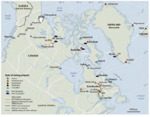 This map shows the location and state of development of Chinese mining projects and supporting infrastructure in Canada's Arctic and North. (Photo: CREATED BY PIerre-louis têtu; editing by geography department, laval university, 2016)