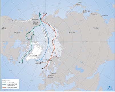 The three main Arctic shipping routes: The Northwest Passage, the Northeast Passage and the future Central Arctic Shipping Route. Data from Arctic Marine Shipping Assessment. (Photo: Arctic portal library)