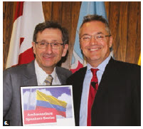 Colombian Ambassador Nicolas Lloreda Ricaurte spoke at the ambassador's speaker series at Carleton University. From left: Lloreda Ricaurte and André Plourde, dean of Carleton's public affairs faculty. (Photo: Ülle Baum)