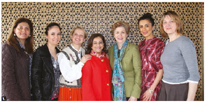Karima Eboo, wife of the Aga Khan Development Network's resident representative, welcomed members of the Diplomatic Hospitality Group and International Women's Club for a tour of the Global Centre for Pluralism and the Delegation of the Ismaili Imamat. From left: Hala Elhusseiny Youssef (Egypt), Lerzan Unal (Turkey), Inara Eihenbauma (Latvia), Karima Eboo, Susan McKnee, Aynur Huseynli (Azerbaijan) and Irena Urbutyte-Pranckeviciene (Lithuania). (Photo: Ülle Baum)