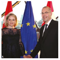 The EU delegation hosted Europe Day at the Shaw Centre. Shown here are EU Ambassador Peteris Ustubs and his wife, Aina Anna Ustuba. (Photo: Ülle Baum)
