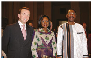 The Parliamentary Centre celebrated its 50th anniversary at the Sir John A. Macdonald building. MP Scott Brison, left, Alassane Bala Sakandé, speaker of the National Assembly of Burkina Faso, and his wife, Sakandé Kabore, centre, attended. (Photo: Ülle Baum)