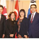 To mark the 65th Anniversary of the Korean War Armistice, the office of Senator Yonah Martin and the Korean and Turkish embassies co-hosted a screening of the film Ayla on Parliament Hill. From left, Korean Ambassador Maengho Shin, film producer Pia Pinar Ercan; Martin and Turkish Ambassador Selcuk Unal attended. (Photo: Ülle Baum)