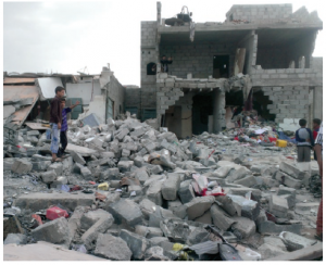 Months after airstrikes on this Northern Yemen neighbourhood, buildings remained reduced to a state of rubble. (Photo: Dyanne Wilson)