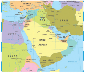 This map shows the Red Sea to Yemen's west, as well as Yemen's proximity to Iran and Saudi Arabia. (Photo: © Valeriy Kaplun | Dreamstime.com )
