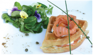Quick Irresistible Waffle Sandwich with Smoked Salmon (Photo: Larry Dickenson)