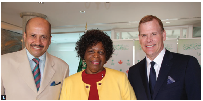 To bid farewell to Zimbabwean Ambassador Florence Zano Chideya, who was dean of the diplomatic corps, Saudi Ambassador Naif Bin Bandir Alsudairy hosted a luncheon at his residence. From left: Alsudairy, Chideya and John Baird, senior adviser at Bennett Jones LLP and former foreign minister. (Photo: Ülle Baum)