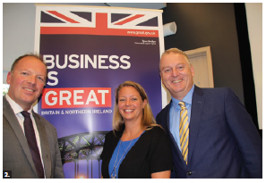 The defence and security team of the British High Commission's international trade department hosted an evening of networking and whisky tasting. From left: trade officer Colin Horton, Marie-Hélène Roberge, senior director at Public Services and Procurement Canada and Sean Crossan, director at Public Services and Procurement Canada. (Photo: Ülle Baum)
