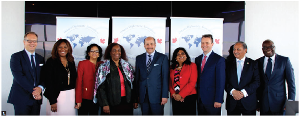 The Ottawa Diplomatic Association hosted its annual general meeting at the Westin Hotel. From left, Serbian Ambassador Mihailo Papazoglu, South African High Commissioner Sibongiseni Yvonne Dlamini-Mntambo, Guyanan High Commissioner Clarissa Sabita Riehl, former Zimbabwean ambassador Florence Zano Chideya, Saudi Ambassador Naif Bandir A. Alsudairy, Jamaican High Commissioner Janice Miller (president of the ODA), Macedonian Ambassador Toni Dimovski, Pakistani High Commissioner Tariq Azim Khan and Cameroon High Commissioner Solomon Anu'A Gheyle Azoh-Mbi. (Photo: Ülle Baum)