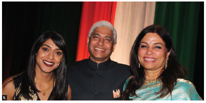 Indian High Commissioner Vikas Swarup, centre, and his wife, Aparna, hosted a reception to mark the 71st anniversary of India's independence. MP Bardish Chagger, left, attended. (Photo: Ülle Baum)