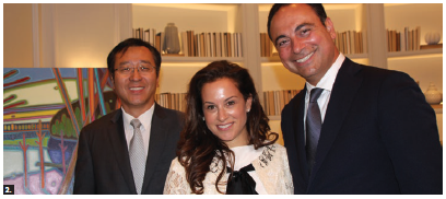 An evening of art by Darlene Kulig took place at the Mizrahi presentation gallery in support of the Ottawa Hospital Foundation. From left: Yang Yundong, counsellor at the Chinese embassy; Toronto-based developer Sam Mizrahi and his wife, Micki. (Photo: Ülle Baum)