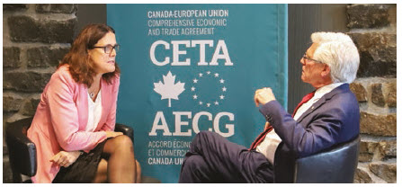 Cecilia Malmström, European commissioner for trade, meets with International Trade Diversification Minister Jim Carr in Montreal. (Photo: EC – Audiovisual Service  — Odile Billeneuve)