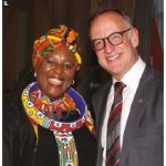 South African High Commissioner Sibongiseni Yvonne Dlamini-Mntambo hosted a reception at the Fairmont Château Laurier to celebrate South African Freedom Day. She's shown with MP Rob Oliphant. (Photo: Ülle Baum)