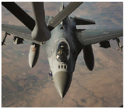 A U.S. Air Force F-16 Fighting Falcon supporting Operation Inherent Resolve receives fuel from a KC-135 Stratotanker. The U.S. has announced it will pull out of Syria this year.  (Photo: Staff Sergeant Chelsea Browning)