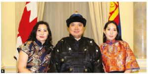 Mongolian Ambassador Yadmaa Ariunbold and his wife, Ayurzana Enkhtuya, left, hosted a reception at the Fairmont Château Laurier to celebrate Mongolia's 94th anniversary and the 45th anniversary of the establishment of diplomatic relations between Mongolia and Canada. They are shown with their daughter, Burte Setsen Ariunbold. (Photo: Ülle Baum)