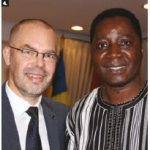 EU Ambassador Peteris Ustubs, left, hosted the launch of the jointly financed project by the Delegation of the European Union, Embassy of Sweden, the Embassy of Switzerland, the Embassy of Burkina Faso and the Parliamentary Centre to celebrate international co-operation in strengthening the Burkina Faso National Assembly. Ustubs is shown with Burkina Faso Ambassador Athanase Boudo. (Photo: Ülle Baum)