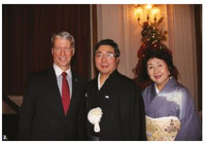 Japanese Ambassador Kimihiro Ishikane and his wife, Kaoru, hosted a reception on occasion of the National Day of Japan and the Birthday of His Majesty the Emperor of Japan at the Fairmont Château Laurier. From left, MP Andrew Leslie and the Kimihiros. (Photo: Ülle Baum)