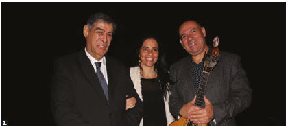 Portuguese Ambassador João da Camara hosted a concert by Portuguese fado guitarist Custódio Castelo at the University of Ottawa. From left: Camara and his wife, Maria Raquel Barata Belchior Rodrigues P. da Camara, with Castelo after a successful concert. (Photo: Ülle Baum)