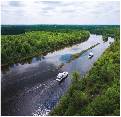 You can travel down the Rideau River between Smiths Falls and Kingston in a boat you rent from Le Boat. They will sleep between 5 and 12 and sport top decks and barbecues.  (Photo: Courtesy of Le Boat)