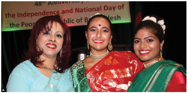 To mark the 48th anniversary of independence and national day of Bangladesh, High Commissioner Mizanur Rahman and his wife, Nishat, hosted a reception at the Delta Hotel. Nishat, left, stands with dancers in traditional national costumes. (Photo: Ülle Baum)