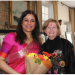 A talk and tour of art by Aparna Swarup, wife of the Indian high commissioner, for 40 members of the International Club of Ottawa (ICO), took place at India House. Shown are Swarup and Marian Devine, chairwoman of the arts and heritage committee. (Photo: Ülle Baum)