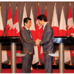 Prime Minister Justin Trudeau and Japanese Prime Minister Shinzo Abe (left) held a joint press conference at the Sir John A. Macdonald Building. Prior to that, the two signed several memorandums of understanding. (Photo: Ülle Baum)