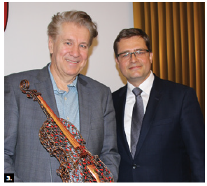 The Slovak Embassy hosted an art exhibit by Juri Janovcik. Janovcik, left, is shown with Slovak Ambassador Vit Koziak (Photo: Ülle Baum)