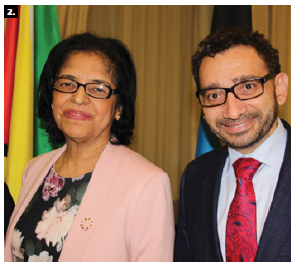 Guyana High Commissioner Clarissa Sabita Riehl, left, and MP Omar Alghabra took part in a reception to mark the anniversary of the Caribbean Community at the Fairmont Château Laurier hotel. (Photo: Ülle Baum)