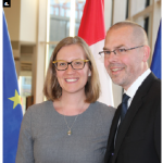 To mark the 69th anniversary of the Schuman Declaration, EU Ambassador Peteris Ustubs hosted a reception at the National Arts Centre. He's shown with MP Karina Gould. (Ülle Baum)