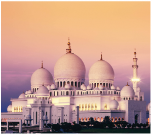Sheikh Zayed Grand Mosque in Abu Dhabi at first appears to be a larger version of the Taj Mahal. Named after founding president Sheikh Zayed Al Nahyan, it is also his burial site. (Photo: Embassy of UAE)