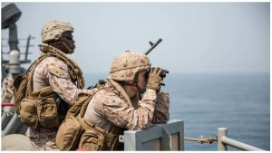 American naval personnel provide security aboard the amphibious dock landing ship USS Harpers Ferry during a Strait of Hormuz transit.