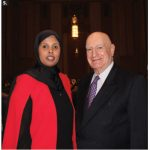 The 11th Annual Harmony Iftar Dinner took place at the Sir John A. MacDonald Building. From left are Ayan Dualeh, chairwoman of the dinner, and retired Canadian diplomat Lawrence Lederman. (Photo: Ülle Baum)