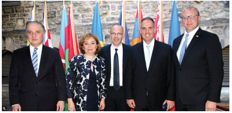 Romanian chargé d'affaires Bogdan Manoiu and EU Ambassador Peteris Ustubs, with the support of Georgian Ambassador Konstantine Kavtaradze, Moldovan Ambassador Ala Beleavschi and Ukrainian Ambassador Andriy Shevchenko, hosted a concert and reception on Parliament Hill to celebrate the 10th anniversary of the Eastern Partnership and the 5th anniversary of the signing of the Association Agreements between their countries. From left, Kavtaradze, Beleavschi, Ustubs, Manoiu and Shevchenko. (Photo: Ülle Baum)