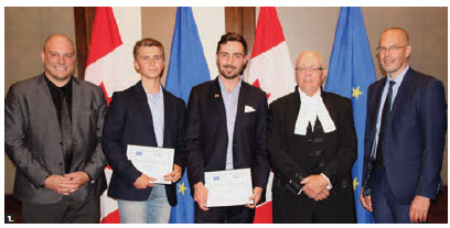 Senate Speaker George J. Furey and former EU Ambassador Peteris Ustubs, co-hosted the Canadian Association of Journalism awards ceremony for the EU-Canada Young Journalist Fellowships. From left: Carl Meyer, Ottawa bureau chief at the National Observer, winner Ted Fraser, winner Zak Vescera, Furey and Ustubs. Absent was the third winner, Philippe Teisceira-Lessard. (Photo: Ülle Baum)