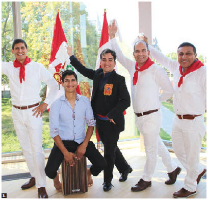 The military, naval and air attachés of Peru organized a fellowship luncheon with Peruvian food and folklore dances at the National Arts Centre for Ottawa's Service Attaché Association. From left: Capt. Marco Arancivia, Peruvian naval attaché; musician Luis Alvarado, holding his Cajon Peruano musical instrument; marinera champion dancer Ricardo Llerena; Col. Fernando San Martin, Peruvian defence and air attaché; and Col. Jorge Contreras, Peruvian military attaché. (Photo: Ülle Baum)