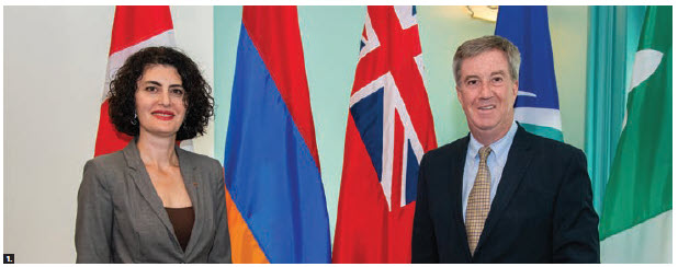 Armenian Ambassador Anahit Harutyunyan paid a courtesy visit to Mayor Jim Watson. (Photo: Ottawa City Hall)