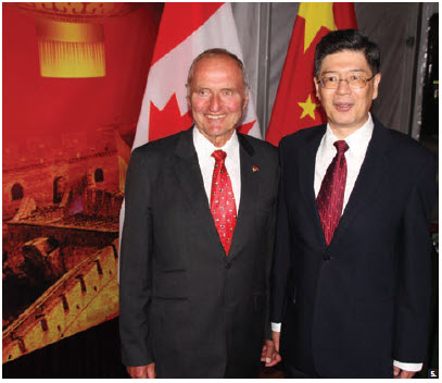 Chinese Ambassador Peiwu Cong hosted a reception at the embassy in celebration of the 70th anniversary of the founding of the People's Republic of China. From left: Senator Joseph A. Day and Cong. (Photo: Ülle Baum)