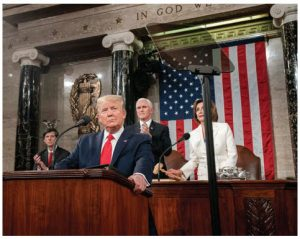The degeneration of political civility was on full display when U.S. President Donald Trump delivered his fourth State of the Union address, refusing to shake the hand of House Speaker Nancy Pelosi (seated behind him and next to Vice-President Mike Pence.) (Photo: White house)
