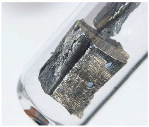 Electric vehicles require up to 4.5 kilograms of various rare earths, including cerium and neodymium, the latter of which is shown here. (Photo: images-of-elements.com)