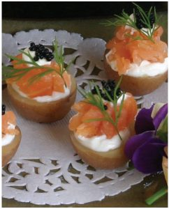 Exotic Smoked Salmon Potato Cups make a memorable hors d'oeuvres. (Photo: Margaret Dickenson)