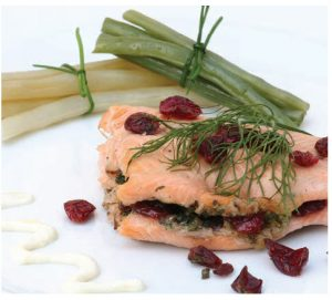 The cranberries in this fried trout with cranberry-herb stuffing offer an interesting counterpoint to the dish. (Photo: larry Dickenson)