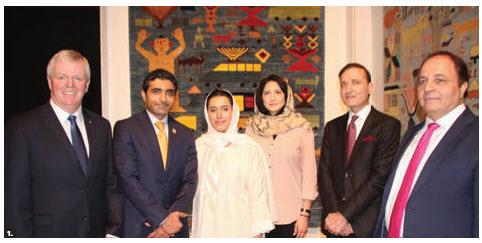 United Arab Emirates Ambassador Fahad Saeed Al Raqbani hosted an opening reception of the Fatima Bint Mohamed Bin Zayed (FBMI) Afghan Peace Carpet Exhibit at the Canadian War Museum's Barney Danson Theatre. From left: Rick Hillier, former chief of defence staff of the Canadian forces; Ambassador Al Raqbani; his wife, Abeer Sulaiman M.A. Alrayaysah; Shabana Kargar, third secretary of the Afghan embassy; Sayed Mujtaba Ahmadi, deputy head of mission at the Afghan embassy, and FBMI regional manager Farshied Jabarkhyl. (Photo: Ülle Baum)